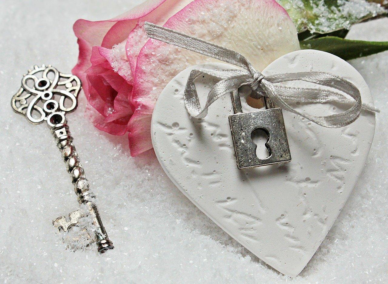 heart, key, rose